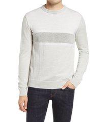 men's bugatchi stripe merino wool blend crewneck sweater, size medium - grey