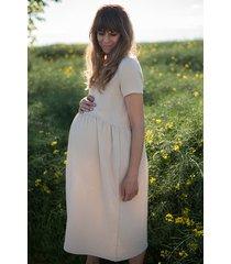 sukienka midi ciążowa z muślinu piaskowa