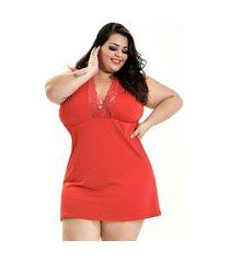 camisola plus size bella fiore modas romantic decote dona vermelho
