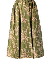 simone rocha bow print flared skirt - green