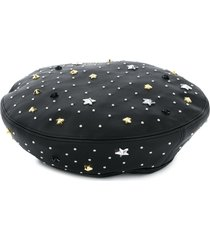 twin-set studded faux-leather beret - black