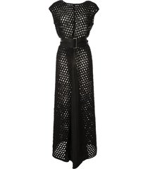 taylor punctuate open-knit maxi dress - black