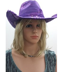 cs-151 sequined cowboy hat, cowgirl hat - purple, adjustable nwt free shipping
