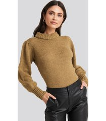na-kd puff sleeve wide neck knitted sweater - beige
