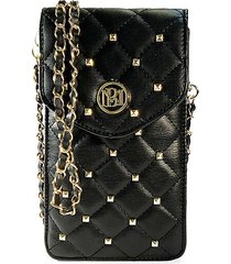 badgley mischka women's quilted faux leather crossbody phone case - black