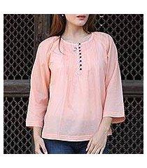 cotton tunic, 'mandala peach' (india)