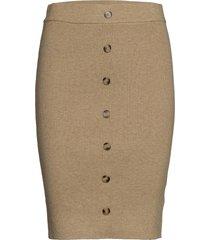maranola knit skirt knälång kjol beige minus