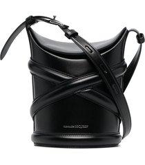 alexander mcqueen strap-detail bucket bag - black
