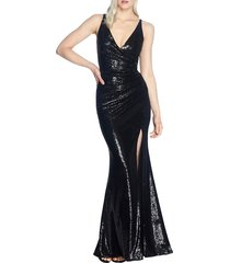 women's dress the population jordan ruched mermaid gown, size x-large - black