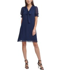dkny tie-neck shift dress