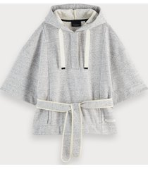 scotch & soda 100% cotton short sleeve poncho-style sweatshirt