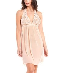 icollection women's chloe lace and mesh halter babydoll