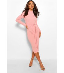 high neck belted midi dress, rose