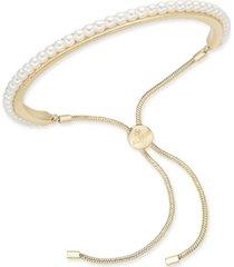 alfani gold-tone imitation pearl slider bracelet, created for macy's