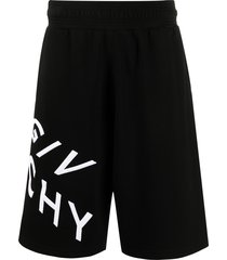 givenchy embroidered logo casual shorts - black