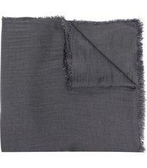 faliero sarti fringed knit scarf - grey