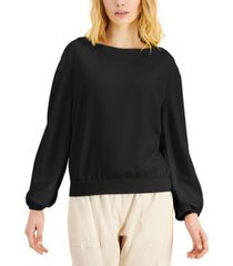 inc petite earth drop-shoulder sweatshirt, created for macy's