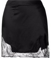 almaz lace-trim silk mini skirt - black