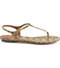 lautre chose animal printed leather flat thong sandals