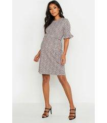 maternity animal print ruffle smock dress, apricot