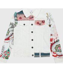 chaqueta blanco-multicolor desigual