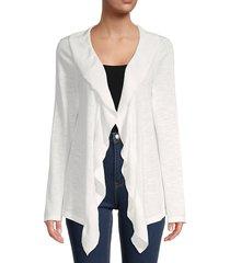 calvin klein women's mixed stitch cotton & linen cardigan - soft white - size l