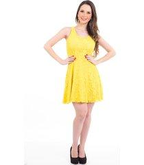 vestido b'bonnie curto em renda karina amarelo