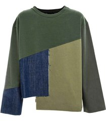 green and blue patchwork sweatshirt for woman