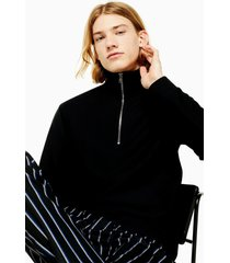 men's topman classic quarter zip twill knit sweatshirt, size large - black