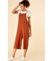 yoins rust pocket diseño cuadrado cuello sin mangas mono