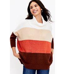 loft colorblock pocket poncho sweater