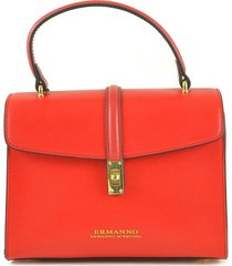 ermanno scervino red top handle satchel bag