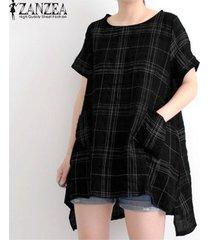 zanzea las mujeres del verano de manga corta camiseta básica de la camisa de la blusa tamaño plus tapa de la túnica -negro