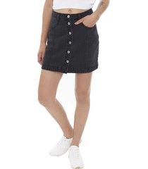 falda básica botones negro  corona
