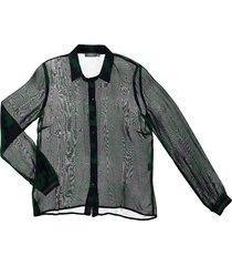 geisha 93948-20 530 blouse chiffon aop green/navy combi blauw