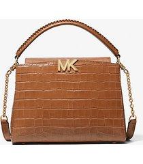 mk borsa a mano karlie media in pelle stampa coccodrillo - marrone (marrone) - michael kors