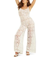 guess sleeveless wide-leg lace jumpsuit