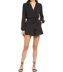 women's fraiche by j flaired tie waist long sleeve romper, size large - black