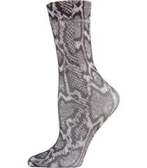 faux snakeskin fishnet women's crew socks