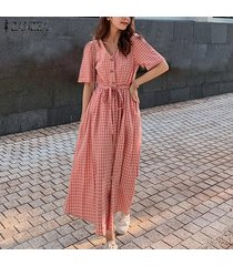 zanzea verano de las mujeres de manga corta compruebe la playa vestido de las señoras del zapato con cordones partido de los vestidos maxi -rosado