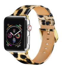 unisex leopard patent leather replacement band for apple watch, 42mm