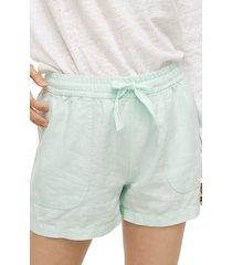 women's j.crew point sur seaside linen blend shorts, size large - green