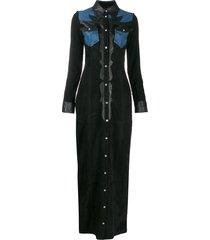 philipp plein long cowboy dress - black