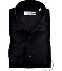 ledub overhemd modern fit zwart stretch