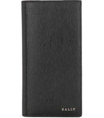 bally long bi-fold leather wallet - black