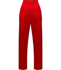 balmain straight-leg velour track pants - red