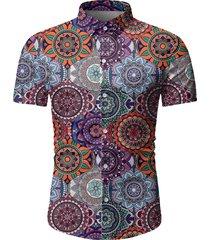 camisa casual de verano con estampado tribal de algodón para hombres