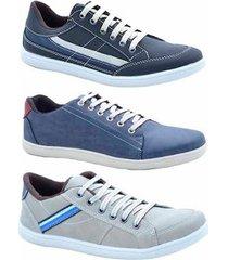 kit 3 pares sapatênis numeração especial dexshoes masculino - masculino