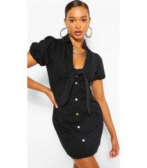 denim jurk met pofmouwen en knoopriem, zwart