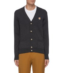 embroidered fox head patch wool cardigan